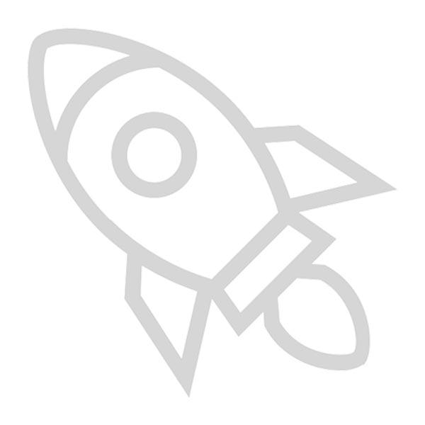 Startup rocket icon - grayscale on white background