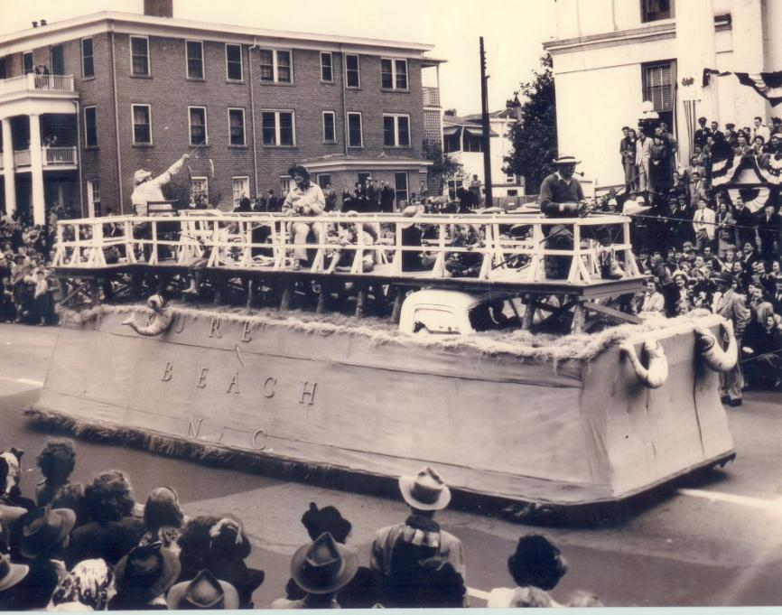 Kure's Fishing Float in the First Azalea Parade in Wilmington.