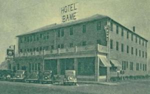 The 1935 remodeled and enlarged Hotel Bame is featured on this postcard. It had a brick exterior, 60 rooms, a dining room and a grill that faced the boardwalk. It was destroyed in the September 19, 1940 fire which also leveled two blocks of the boardwalk.