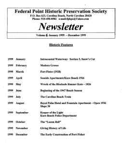 1999 Newsletter Historic Features
