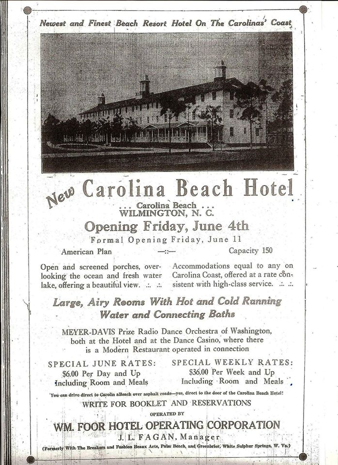 Carolina Beach School was built on the site of the ill fated Carolina Beach Hotel which opened in 1926 by the Carolina Beach Lake. The 100 room hotel was designed by Leslie Boney and built by W A Simon who also later built the school. The CB Hotel burned to the ground in September of 1927, a victim of arson from the two new owners who were arrested that November.