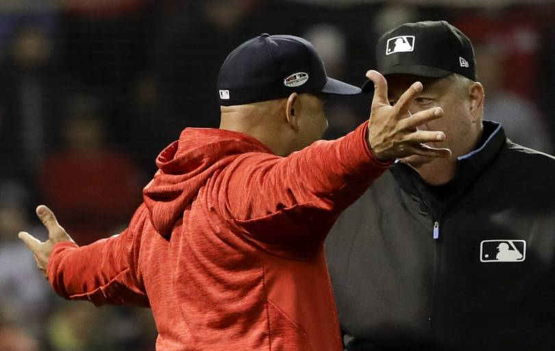 ALCS Astros Red Sox Baseball 11334 - Sale, Cora make early exits for Red Sox in ALCS Game 1