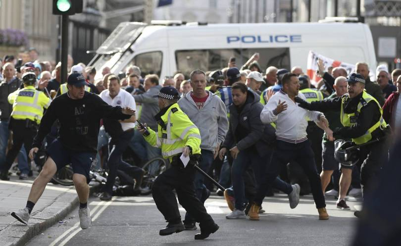 Britain Protest 14892 - Right-wing march in London turns violent, 1 arrested