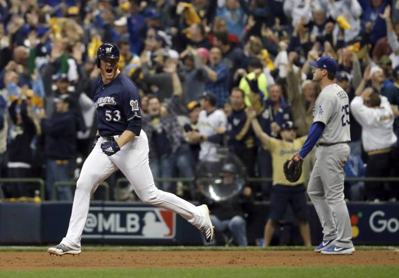 NLCS Dodgers Brewers Baseball 58610 - Reliever Woodruff's homer stuns Kershaw, Brewers take Game 1