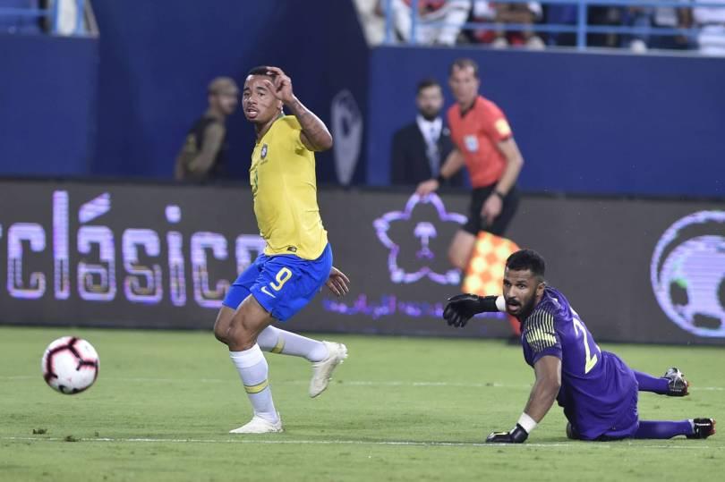 Saudi Arabia Brazil Soccer 32867 - Jesus scores as Brazil beats Saudi Arabia 2-0 in friendly