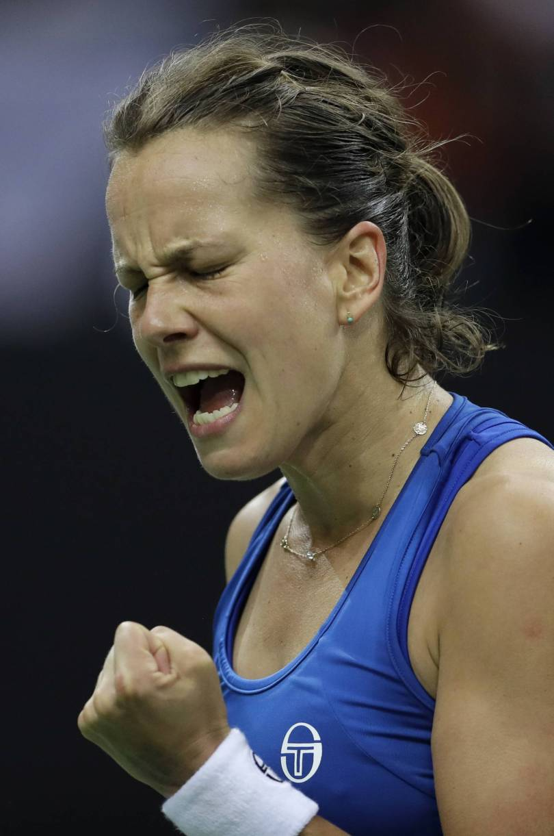 Czech Republic Tennis Fed Cup 51814 - Czechs lead defending champion US in Fed Cup final