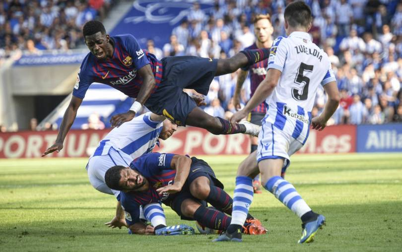 APTOPIX Spain Soccer La Liga 99351 - Dembele stakes claim to big role at Barca with another goal