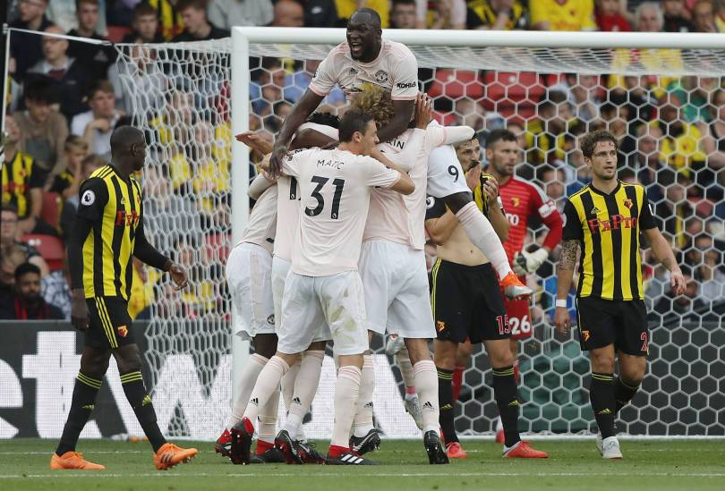Britain Soccer Premier League 20433 - Man United ends Watford's perfect start with 2-1 win in EPL