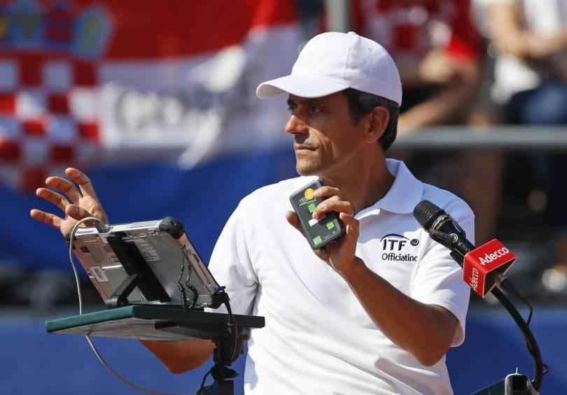 Croatia Tennis Davis Cup 16983 - Chair umpire Ramos hands Cilic warning for slamming racket