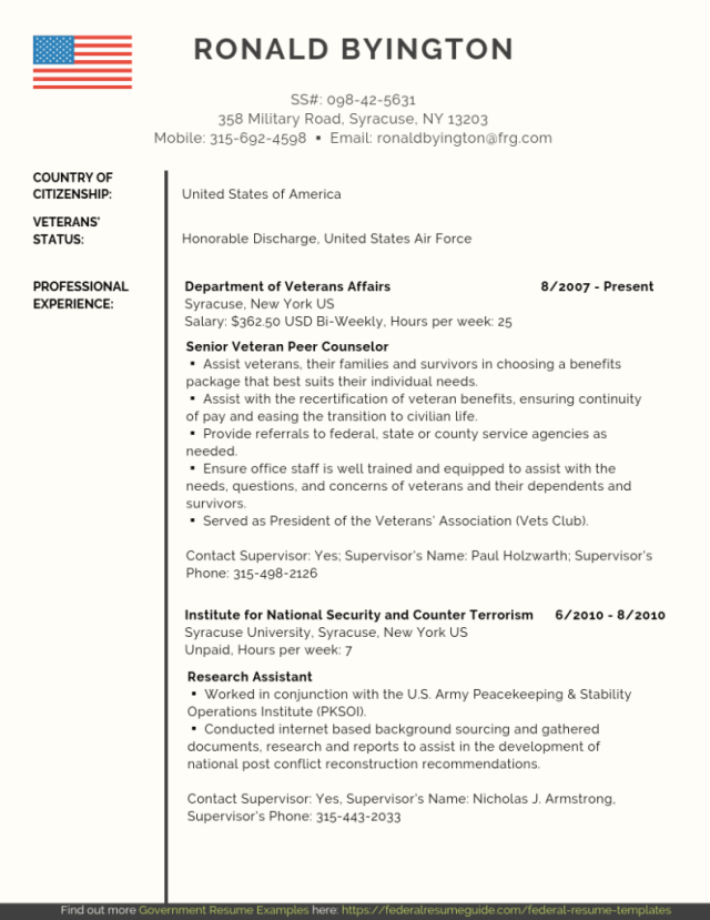 Veteran Federal Resume Samples [PDF + Word]  Federal Resume Guide