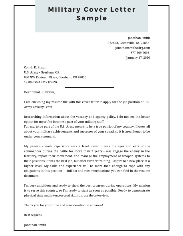 Military Cover Letter Sample [PDF + Word]  Cover Letter Examples