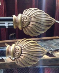 Ornate timber curtain rods x 4 available(detail) $220 each