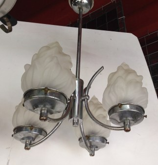 Original chrome Art Deco 4 pendant ceiling light, glass flame shades $245