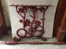 Snake motif with flowers table bases cast iron w630 x h640mm; with cast iron rod L1420mm $550