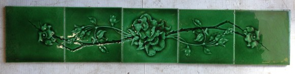 Single continuous five tile panel, original, symmetrical for vertical or horizontal orientation $145