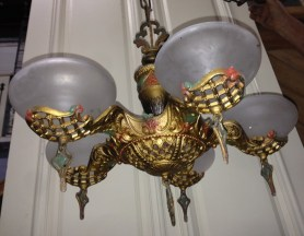 Pendant light with gilt lattice pattern, five white shades, with original painted detail $285