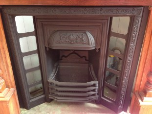 Early Victorian ornate ca salvage recycled demolition, reproduction restoration, renovation, collectable, secondhand, used, original, old, reclaimed heritage, antique restoredst iron fireplace insert, seashell motif on hood $545