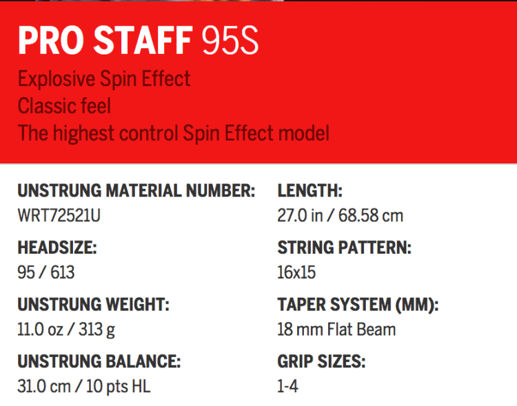 Pro Staff 95S Specifications