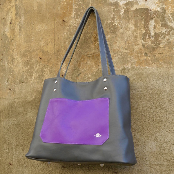 Tote Trieste, grey and purple