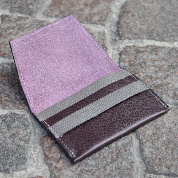 Wine & Gray Umbria Card Case, Open