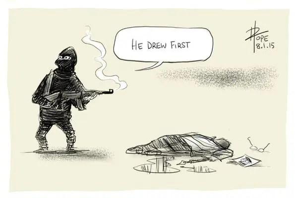 """Él disparo primero"". Por el caricaturista australiano David Pope"