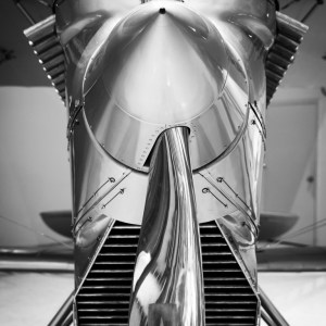 Black and white fine art photo of Curtiss F6C-1 Hawk military aircraft at National Museum of Naval Aviation.