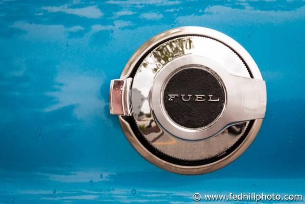 Fine art photo of an antique classic 1971 Dodge Challenger chrome fuel cap.