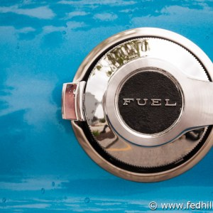 Fine art photo of an antique classic 1971 Dodge Challenger chrome fuel cap.