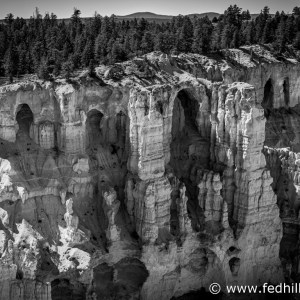 Fine art black and white photograph of Paunsaugunt Plateau in Bryce Canyon National Park, Utah.