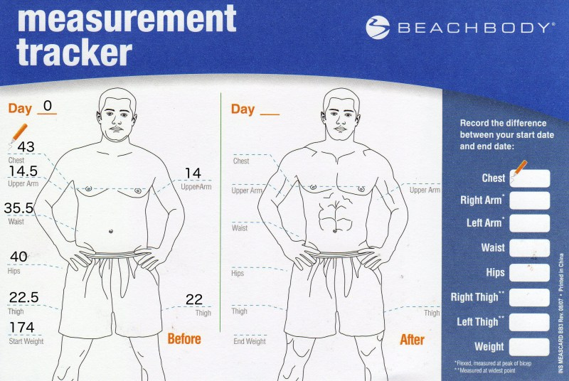 Starting measurements for the P90X3 workout program.