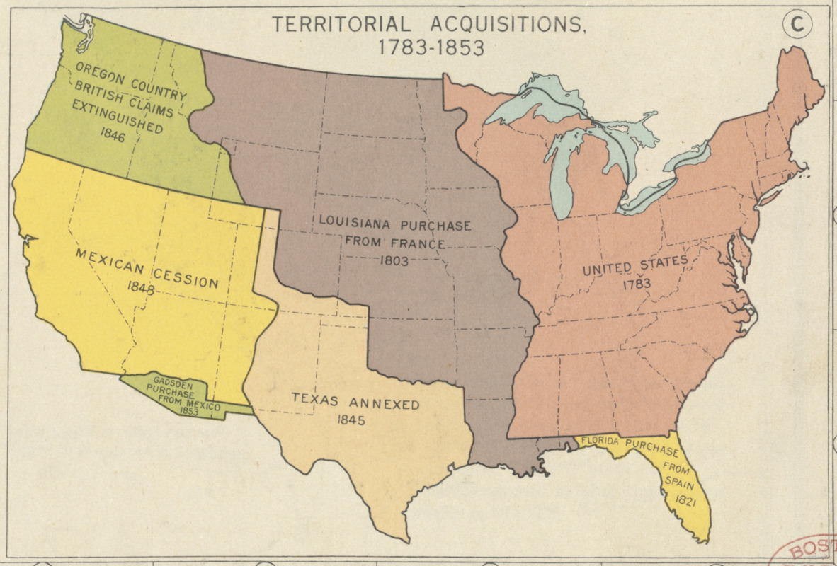 Territorial acquisitions  1783 1853   Norman B  Leventhal Map     Territorial acquisitions  1783 1853
