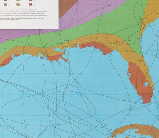 HD Decor Images » Norman B  Leventhal Map   Education Center Gulf of Mexico and Atlantic Ocean  Selected Hurricanes Affecting the  Southern United States 1954 1977  Washington  D C   1977