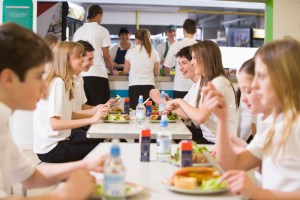 High school students eating in the school cafeteria