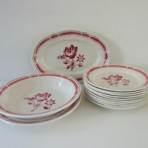 service porcelaine opaque badonviller décor roses