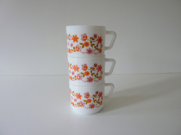 tasses scania arcopal fleurs orange vintage 2