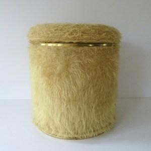 pouf moumoute seventies moutarde