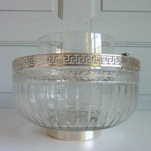 Rafraichissoir à caviar ancien cristal et métal argenté