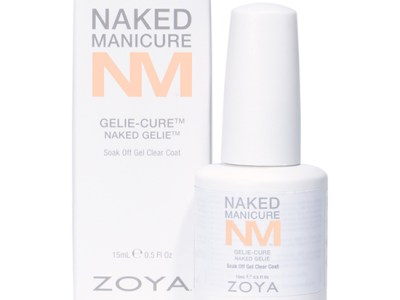 A bottle of the Naked Gelie by ZOYA Naked Manicure next to its packaging box.