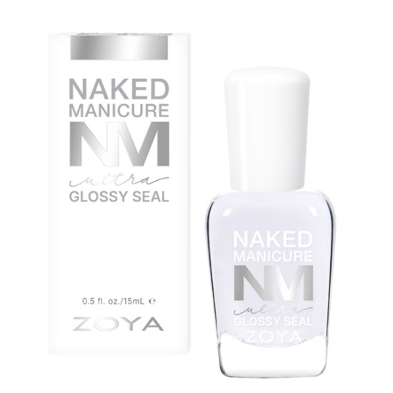 A bottle of Ultra Glossy Seal by ZOYA and Naked Manicure next to its packaging box.