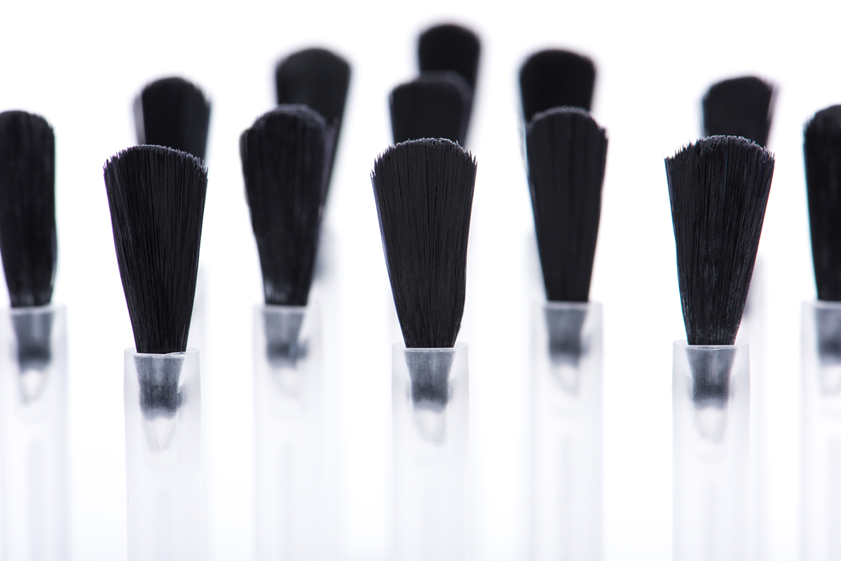 A close-up view of ZOYA Z-Wide Brushes without their polish bottles.