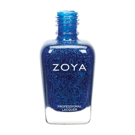A bottle of Dream by Zoya, best described as a full-coverage, deep space blue with holographic glitter.