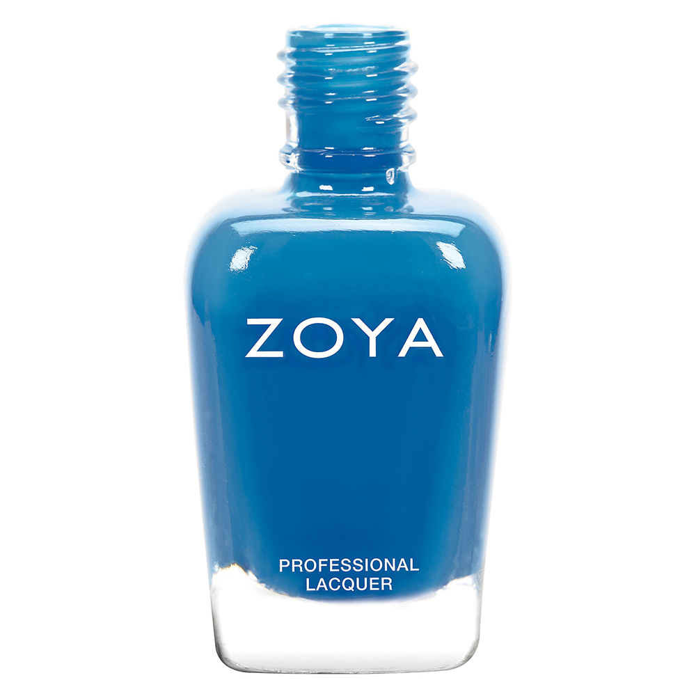 A bottle of Ling by Zoya, best described as a vibrant royal blue cream that is evenly balanced to flatter most skin tones.