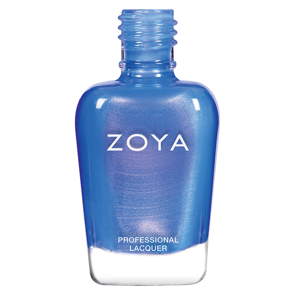 A bottle of Saint by Zoya, best described as a whimsical color-flip metallic with a periwinkle base and magenta shift.