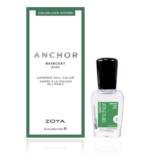 A bottle of the Anchor base coat by ZOYA next to its packaging box.