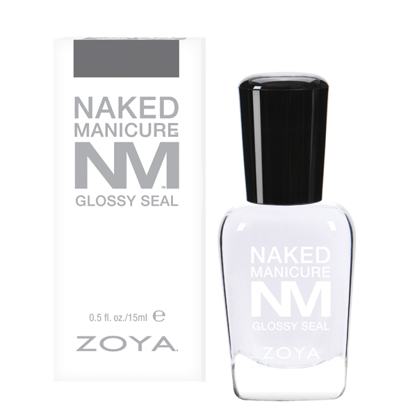 A bottle of Glossy Seal is next to its packaging box by Zoya Naked Manicure.