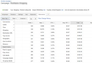 Google Adwords Dimension Search Terms