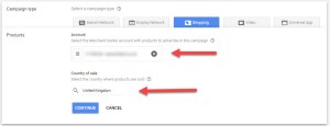 Google Adwords Shopping Account Selection