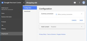 Google Merchant Disable Currency Conversion