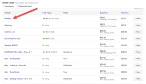 Google Shopping Compare List Top Spot