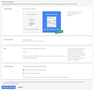 Google Adwords Shopping Showcase Ads Ad Group Type